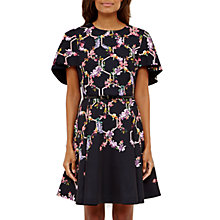 Buy Ted Baker Vianna Lost Gardens Frill Sleeve Dress, Black Online at johnlewis.com