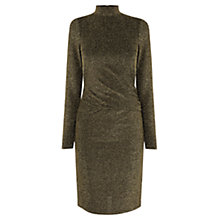Buy Oasis Glitter High Neck Dress, Gold Online at johnlewis.com