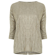 Buy Oasis Foil Drop Sleeve Top, Gold Online at johnlewis.com