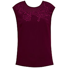 Buy Ted Baker Clarest Embroidered Floral Top, Oxblood Online at johnlewis.com