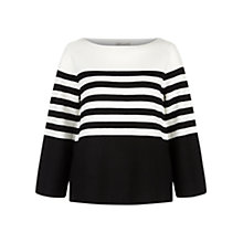 Buy Hobbs Harbour Stripe Jumper, Ivory/Black Online at johnlewis.com