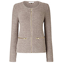 Buy Jacques Vert Zip Front Sparkle Jacket, Mid Neutral Online at johnlewis.com