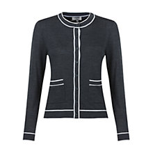 Buy Hobbs Rosina Wool Cardigan, Dark Grey / Ivory Online at johnlewis.com