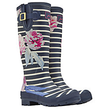 Buy Joules Tall Printed Bloom Stripe Rubber Wellington Boots, Navy Online at johnlewis.com