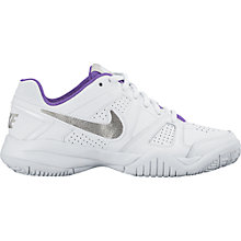 Buy Nike Children's City Court 7 Lace Trainers, White/Metallic Silver Online at johnlewis.com