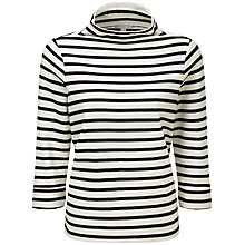 Buy Pure Collection Frankie Relaxed Funnel Top, Black/Ivory Online at johnlewis.com