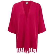 Buy Pure Collection Nadia Cashmere Fringe Trim Cardigan, Dusty Berry Online at johnlewis.com