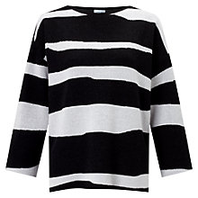 Buy Jigsaw Letter Stripe Jumper, Black Online at johnlewis.com