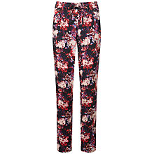 Buy Pure Collection Houston Sporty Silk Trousers, Black Floral Print Online at johnlewis.com