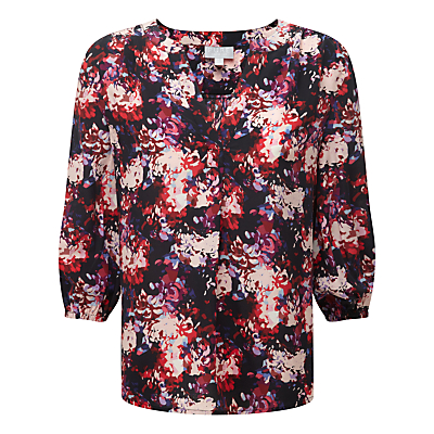Pure Collection Gwynne Feminine Notch Neck Blouse, Black Floral Print