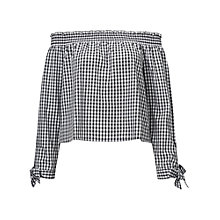 Buy Miss Selfridge Gingham Bardot Top, Multi Online at johnlewis.com