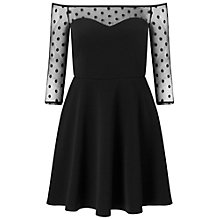 Buy Miss Selfridge Petite Dobby Mesh Skater Dress, Black Online at johnlewis.com