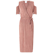 Buy Miss Selfridge Plisse Cold Shoulder Dress, Pale Pink Online at johnlewis.com