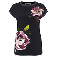 Buy Oasis Painted Floral Woven T-Shirt, Black Online at johnlewis.com