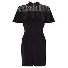 Buy Miss Selfridge Lace Ruffle Playsuit, Black Online at johnlewis.com