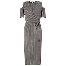 Buy Miss Selfridge Plisse Cold Shoulder Dress, Silver Online at johnlewis.com