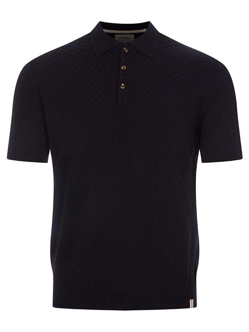 HYMN HYMN Basket Weave Polo Shirt, Black