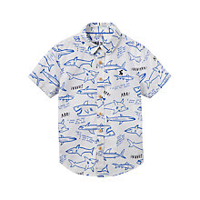 Buy Little Joule Boys' Junior Luke Short Sleeve Shirt, Cream/Blue Online at johnlewis.com