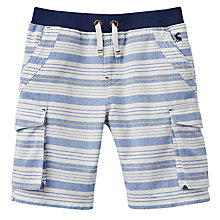 Buy Little Joule Boys' Bob Striped Cargo Shorts, Blue/Multi Online at johnlewis.com