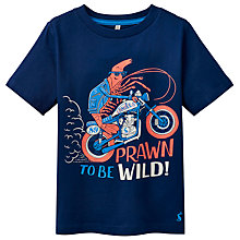 Buy Little Joule Boys' Ben Prawn Print T-Shirt, Navy/Multi Online at johnlewis.com