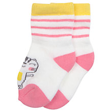 Buy Polarn O. Pyret Baby Cat Socks, Pink/White Online at johnlewis.com
