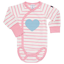 Buy Polarn O. Pyret Baby Striped Bodysuit, Pink/White Online at johnlewis.com
