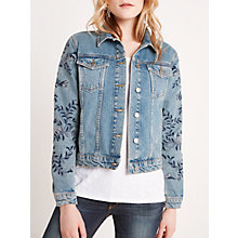 Buy AND/OR Embroidered Denim Jacket, Blue Online at johnlewis.com