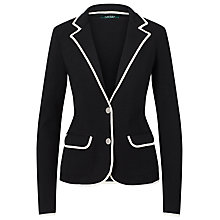 Buy Lauren Ralph Lauren Stretch Cotton Sweater Blazer, Polo Black/Herbal Milk Online at johnlewis.com