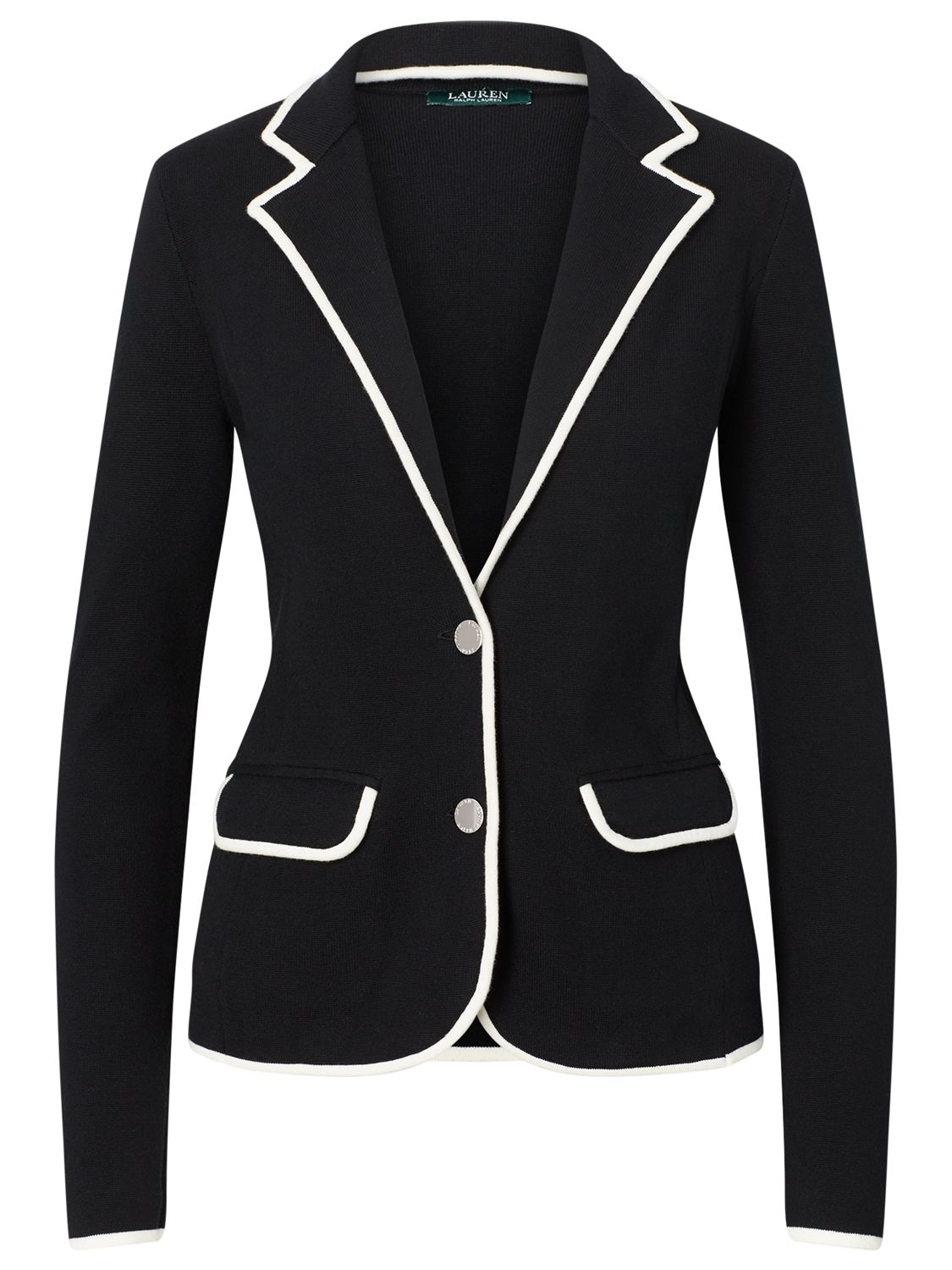 Lauren Ralph Lauren Lauren Ralph Lauren Stretch Cotton Sweater Blazer, Polo Black/Herbal Milk