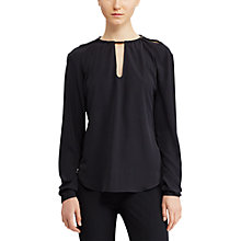 Buy Lauren Ralph Lauren Crepe de Chine Long Sleeve Top, Polo Black Online at johnlewis.com
