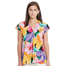 Buy Lauren Ralph Lauren Floral Print Cap Sleeve Top, Multi Online at johnlewis.com
