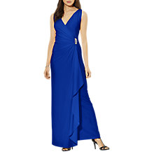 Buy Lauren Ralph Lauren Ruffled Brooch Sleeveless Dress, Iberian Blue Online at johnlewis.com
