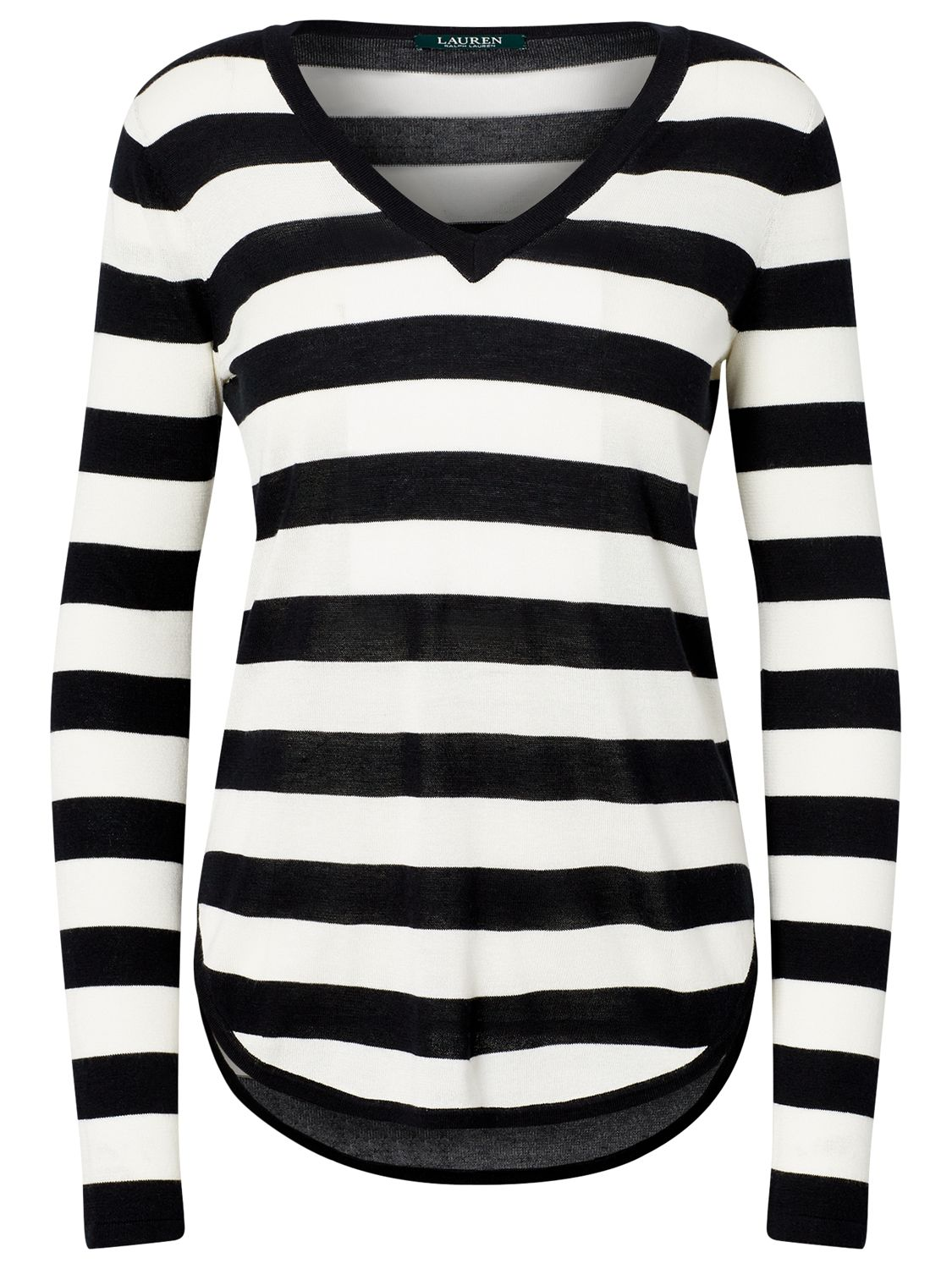 Lauren Ralph Lauren Lauren Ralph Lauren Stripe V-Neck Jumper, Polo Black/White