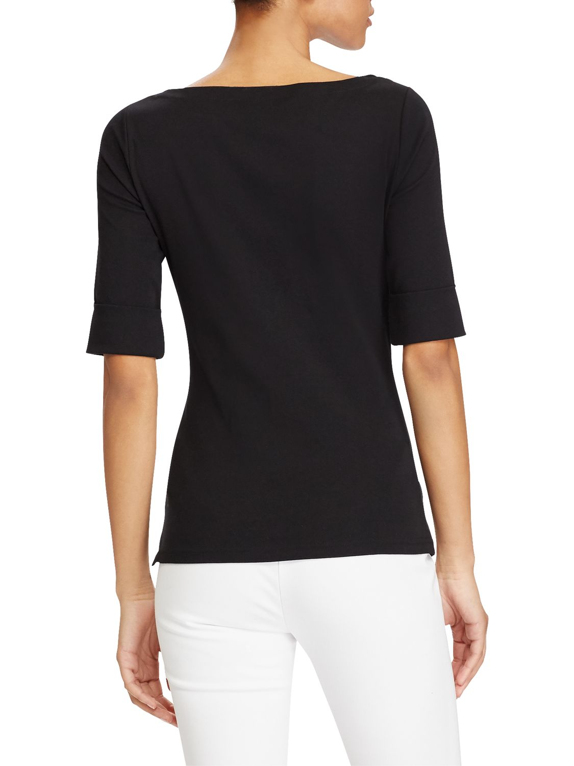 Lauren Ralph Lauren Lauren Ralph Lauren Boat Neck Stripe Top, Polo Black