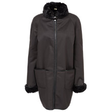 Buy Max Studio Faux Fur Lined Coat, Black/Charcoal Online at johnlewis.com