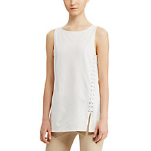 Buy Lauren Ralph Lauren Lace-Up Ponte Tank Top, Herbal Milk Online at johnlewis.com