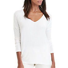 Buy Lauren Ralph Lauren V-Neck Jersey Top, Antique Ivory Online at johnlewis.com