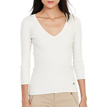 Buy Lauren Ralph Lauren 3/4 Sleeve V-Neck Jersey Top Online at johnlewis.com