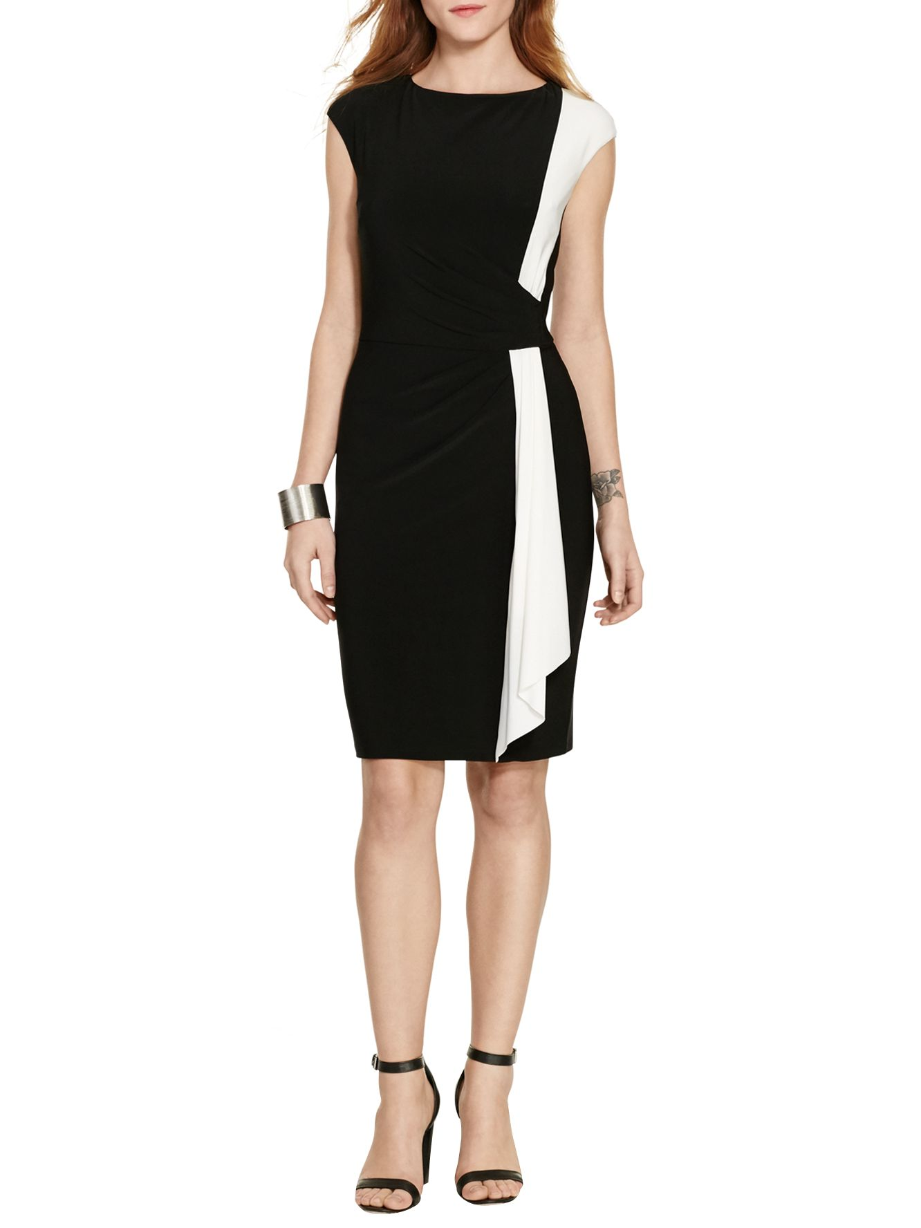 Lauren Ralph Lauren Lauren Ralph Lauren Two-Tone Jersey Dress, Black/Lauren White