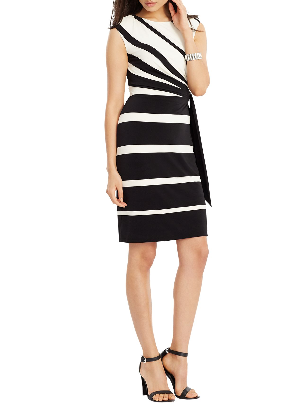 Lauren Ralph Lauren Lauren Ralph Lauren Stripe Jersey Dress, Black/Colonial Cream