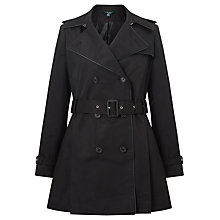 Buy Lauren Ralph Lauren Faux Leather Trim Trench Coat, Black Online at johnlewis.com
