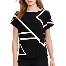 Buy Lauren Ralph Lauren Geometric Print Jersey Top, Polo Black/White Online at johnlewis.com