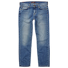 Buy 7 For All Mankind Roxanne Mid Rise Cropped Slim Jeans, Blue Online at johnlewis.com
