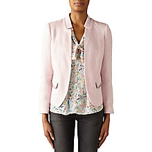 Buy Helene For Denim Wardrobe Tweed Jacket With Fringe Trim, Pink Online at johnlewis.com
