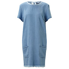Buy 7 For All Mankind Fringe Detail Denim Dress, Light Denim Online at johnlewis.com