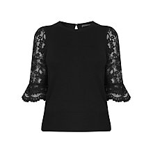 Buy Oasis Lace Fluted Sleeve Knit Top, Black Online at johnlewis.com