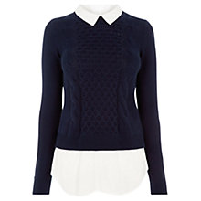 Buy Oasis Check Cable Shirt Tails Jumper Top, Navy Online at johnlewis.com
