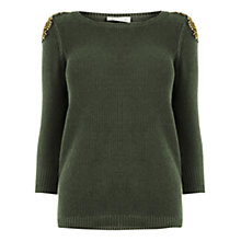 Buy Oasis Embellished Cotton Waffle Knit Jumper, Khaki Online at johnlewis.com