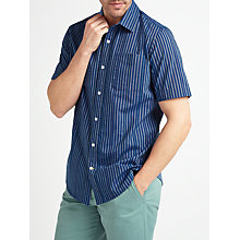 Buy John Lewis End on End Stripe Short Sleeve Shirt, Navy Online at johnlewis.com