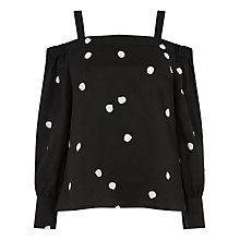 Buy Warehouse Pattern Dotty Spot Strappy Bardot Top, Black Pattern Online at johnlewis.com